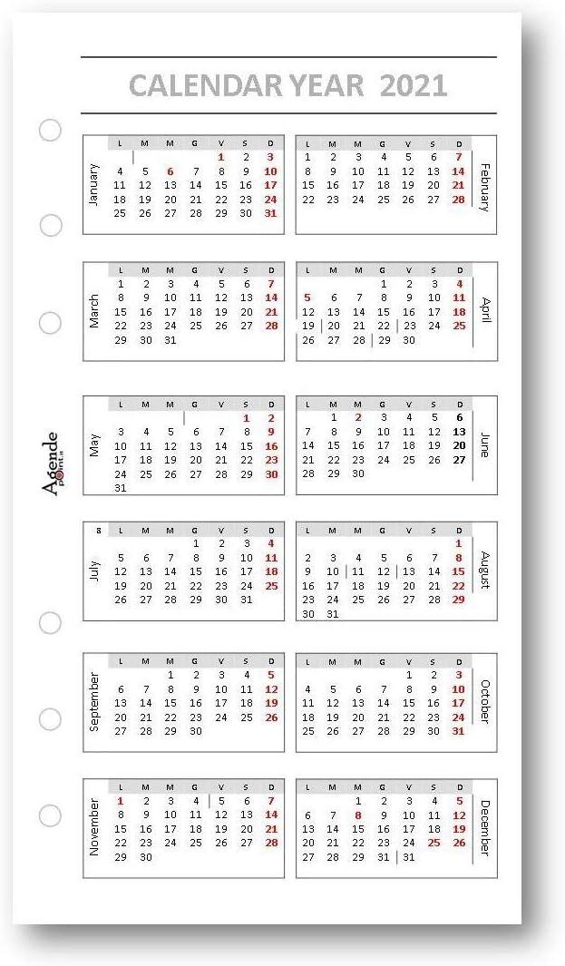 90 gr 9,5 x 17 ricambio agenda organizer in inglese Ricambio agenda 2021 in lingua INGLESE settimanale bianco