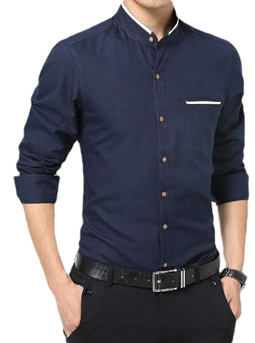 YIhujiuben Mens Banded Collar Buttoned Long-Sleeve Dress Shirts