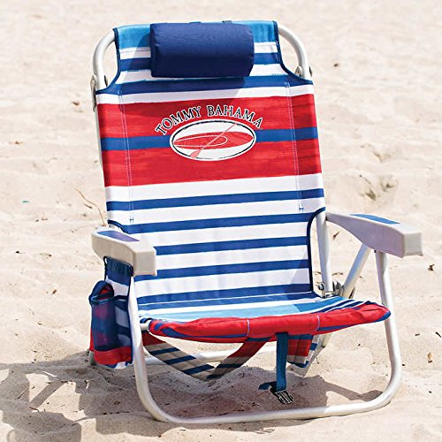tommy-bahama-2017-backpack-cooler-folding-beach-chair-various-colors-red-white-blue-stripe