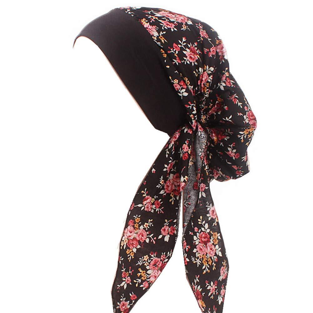 Vintage Women Elastic Wide Band Head Scarf Cotton Turbans Print Bonnet Multifunction Night Sleep Hat Chemo Hair Loss Wrap Cap (Black)