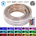 WYZworks LED Rope Lights, Waterproof Color Changing Strip Light for Outdoor & Indoor Use - Flexible Dimmable Lighting with Remote Controller 16 Colors & Multi Modes - 25, 50, 100, 150 feet