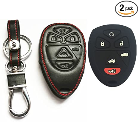 Remote Entry System Kits Black Leather Smart Remote 6 Buttons Key Chain Holder Cover Fob For Chevrolet