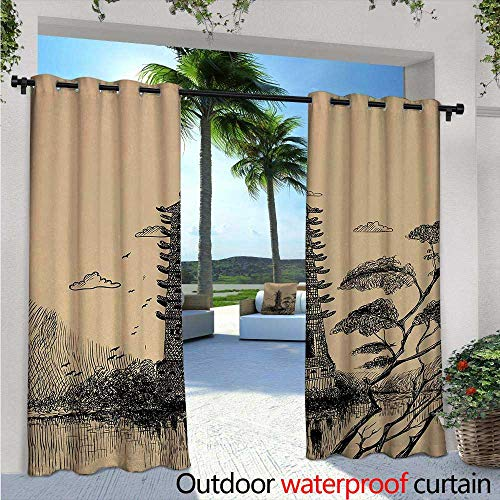 Asian Outdoor Blackout Curtains Old Stone Tiered Tower Vintage Taoist House of Faith Historical Illustration Outdoor Privacy Porch Curtains W120 x L84 Pale Brown Black