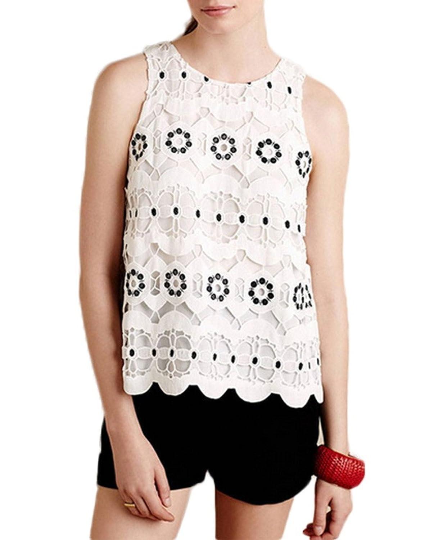 Bigood Women Occident White Black Lace Embroider Scallop Lap Vest