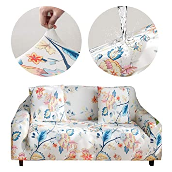 Bikuer Printed Sofa Cover Stretch Couch Cover Sofa Slipcovers for 2 Cushion  Couch with One Free Pillow Case (Love seat, Flower World)