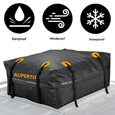 AUPERTO 15 Cubic Feet Car Rooftop Cargo Carrier Bag - Cargo Bag Compatible Cars with Rack/Rail/Cross Bar: Automotive