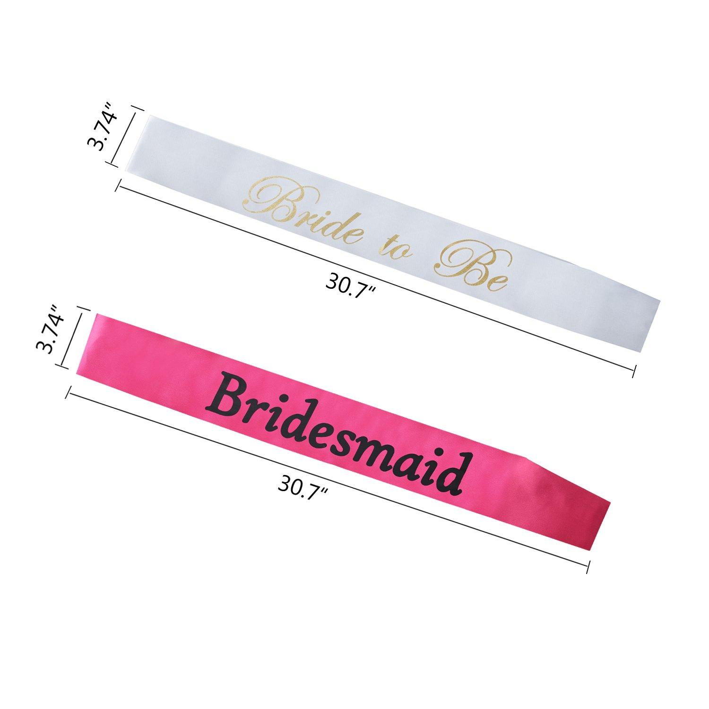 Amazon.com  Bridesmaid Sash Set for Bridal Shower Party ... 2f1049e787d8