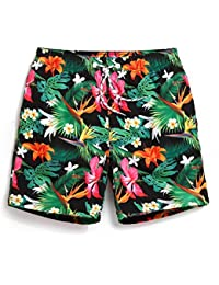 SHDAS Polyester Mens Swim Trunks Quick Dry Printed Board Shorts Multicolor