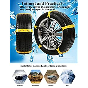 Mannice Anti Slip Snow Chains for SUV Car Adjustable Universal Emergency Thickening Anti Skid Tire Chain,Winter Driving Security Chains,Traction Mud Snow Chains,Fit for Most Car/Truck,6 Pcs