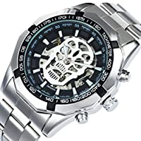 CALUXE Skull Skeleton Automatic Mechanical Watches Mens Luminous Dial Stainless Steel Watch Band + Box