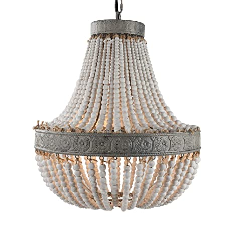 the latest a915b fde4d Newrays Wood Bead Chandelier Pendant Three Lights Gray White Finishing  Retro Vintage Antique Rustic Kitchen Ceiling Lamp Light Fixtures  (Large-Middle)