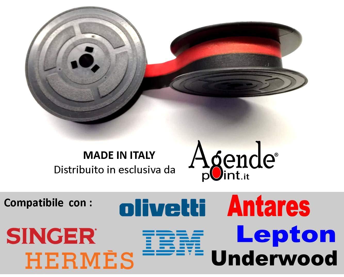 Cinta de máquina de escribir Olivetti Lettera 22, 25 y 35 y otras, en negro y rojo, de tela, 2 bobinas