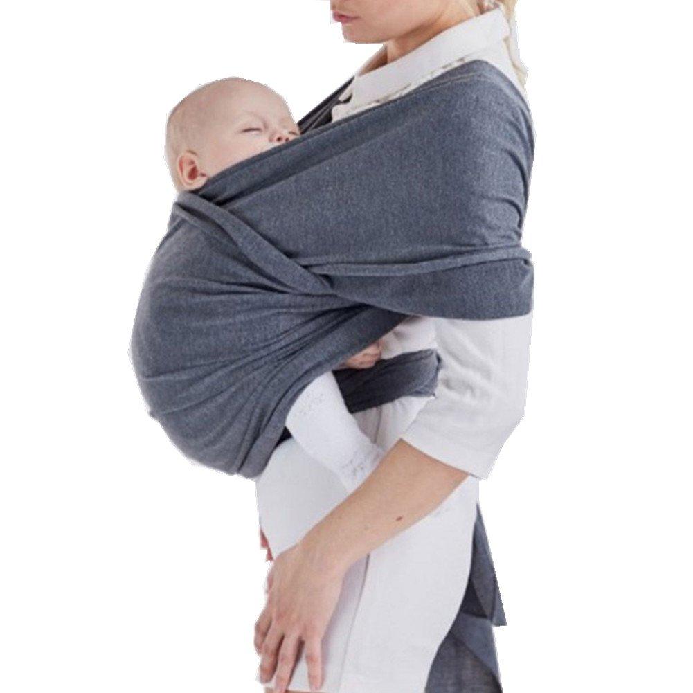 Jipai(TM) Fular Portabebés Elástico Portador para Transportar A Bebé Pañuelo Portabebé de Algodón y Spandex Porta Bebé para Hombre y Mujer en Cinco Colores (Gris)