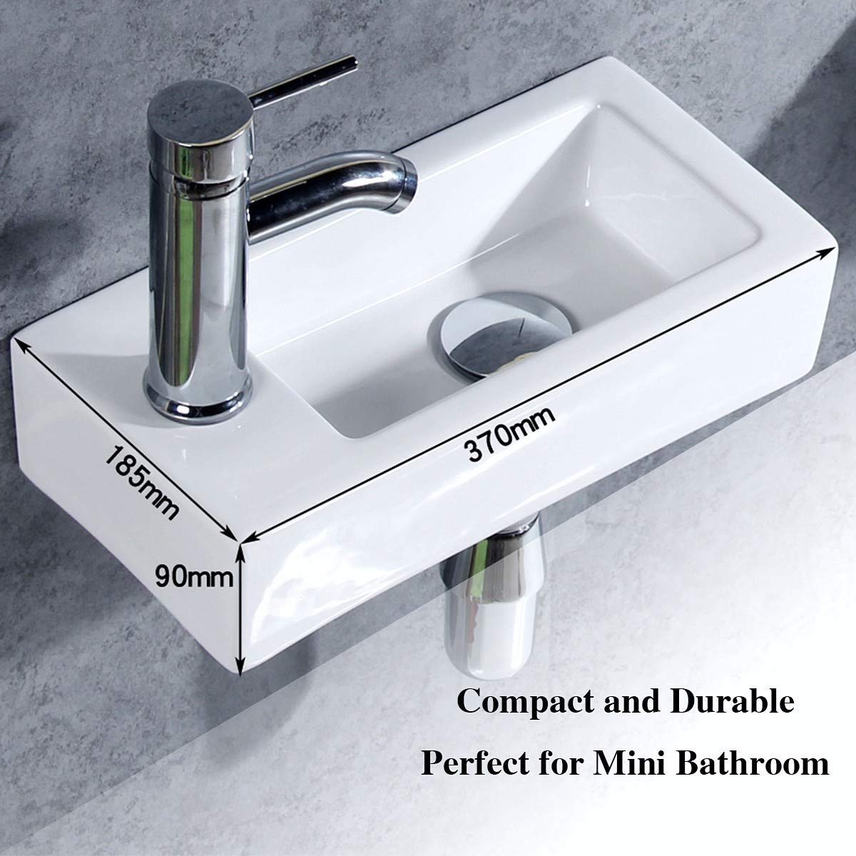 Excellent Gimify Small Cloakroom Basin Sink Wall Hung Mini Hand Wash Basin For Toilet Bathroom Left Hand Download Free Architecture Designs Grimeyleaguecom