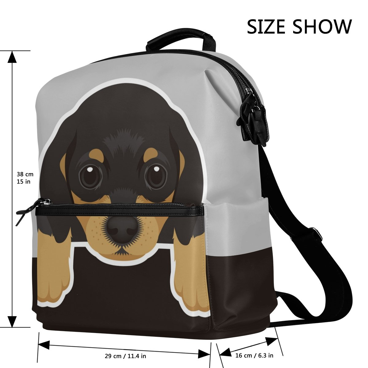 Amazon.com: Cute Dog Dachshund Puppy Lightweight Waterproof Polyester Large Capacity Backpack Campus Backpack Travel Daypack Black: LanKen