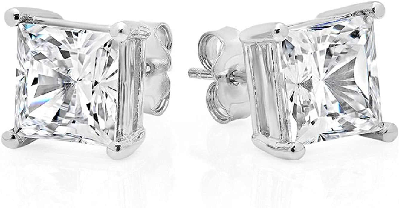 Unique 1 Carat Total Weight Black on Black Princess Cubic Zirconia Sterling 925 Silver Stud Earrings