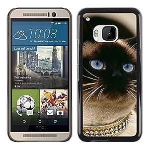 TopCaseStore / la caja del caucho duro de la cubierta de protección de la piel - Siamese Cat Gold Blue Eyes Birman - HTC One M9