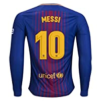 Barcelona Messi 10 2017-2018 Home Long Sleeve Jersey Men's Color Blue Size M