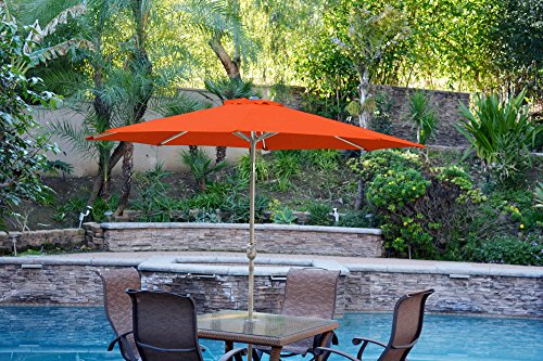 Jeco UBP95-UBF99 Aluminum Patio Market Umbrella Tilt, 9', Orange