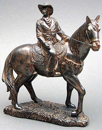 (HomeCrafts4U Cowboy Statue Horse Back Riding Figurine Western Accent Decorative Tabletop Ornament Rustic Sculpture Figure Knight Decor)