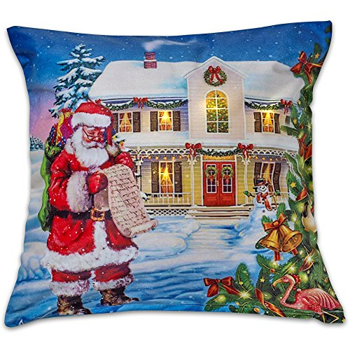 Violet Linen Decorative Illuminated LED Christmas Throw Pillow, 18