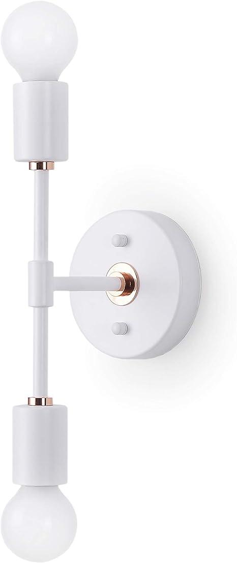 Brighttia 2 Light Wall Sconce Modern Minimalist Bathroom Vanity And Hallway Lighting Mid Century Industrial Exposed Bulb Wall Lamp Flush Mount Fixture White Rose Gold Bw0023 2wr Amazon Com