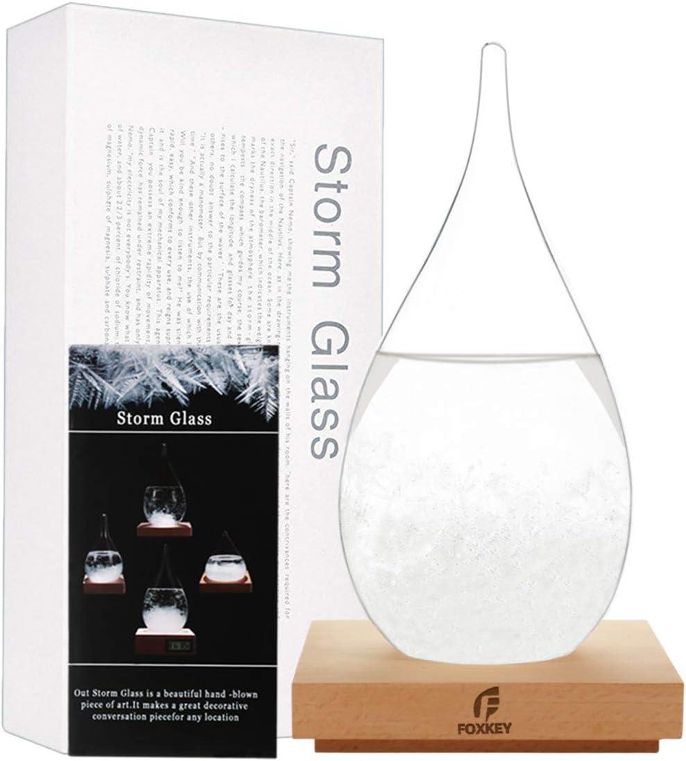 F FOXKEY Storm Glass Desktop Fashion Weather Station Water Droplet Weather Forecaster-Forecast Decorative Crystal Glass-Storm Glass Creative Desktop Decoration (X-Large)
