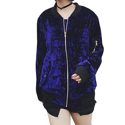 Acquaa Women's Long Sleeve Zip Up Casual Velvet Jacket Coat