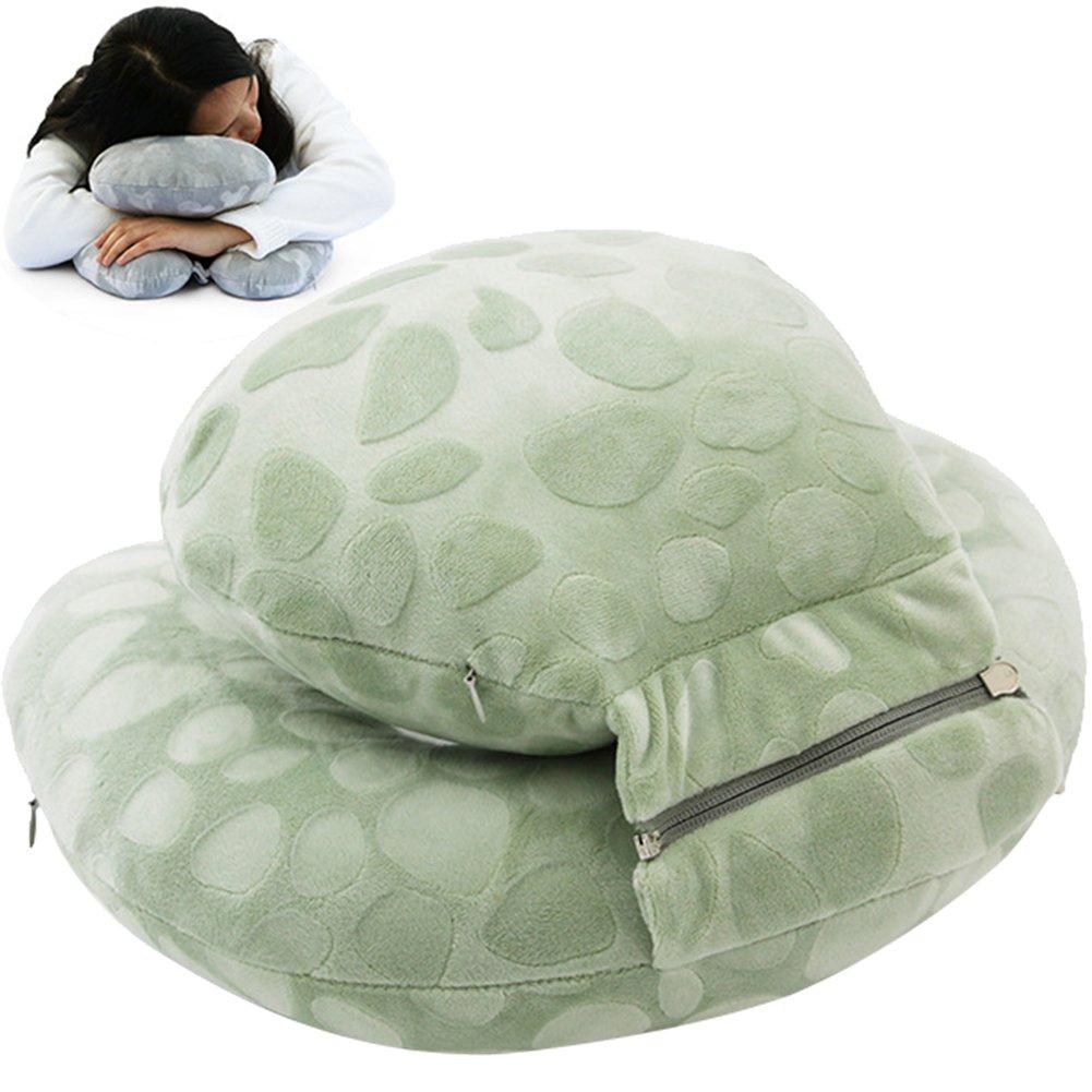 wingoffly Nap枕ポータブル旅行首枕学校学生Rest Pillow Detachable Head枕スーパーソフト枕オフィスのデスク3 in 1 グリーン ZZLHF6-12WSZ1-5 B07DNSN53P グリーン