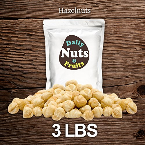 3 LB Blanched/Roasted Hazelnuts (Filberts, No Skin, Kernel) by Daily Nuts & Fruits