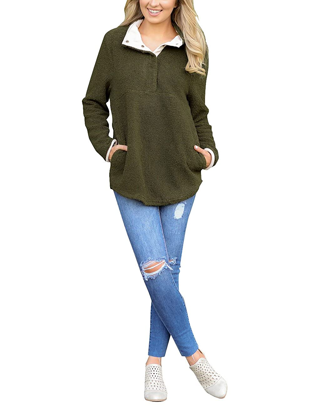 eaf46cc0dcf4 GRAPENT Women s Casual Long Sleeves Stand Collar Buttons Pockets ...