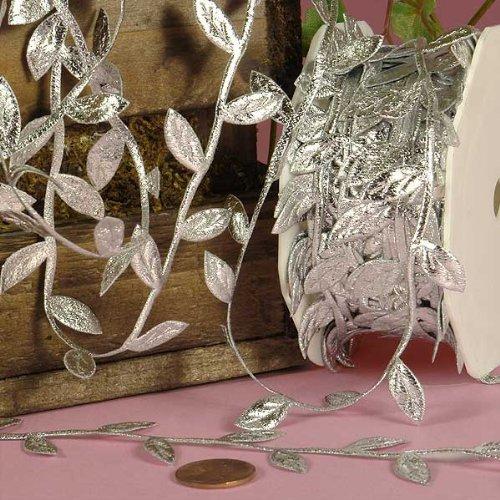 Silver Leaf Trim - Silver Leaf Ribbon, 1-1/4