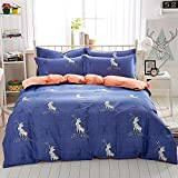 Mumgo Home Bedding Sets Xmas Gift for Adult Kids Christmas Reindeer Pattern Design Duvet Cover Set Full/Queen Size 4 Piece without Comforter