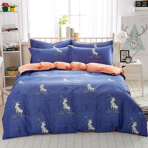 Mumgo Home Bedding Sets Xmas Gift for Adult Kids Christmas Reindeer Pattern Design Duvet Cover Set Full/Queen Size 4 Piece without Comforter by Mumgo