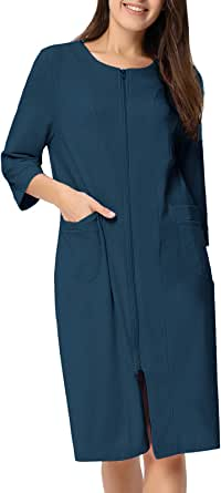 Zexxxy Women Cotton Bathrobe Sleepwear Half Sleeve Zipper Pajama S-2XL