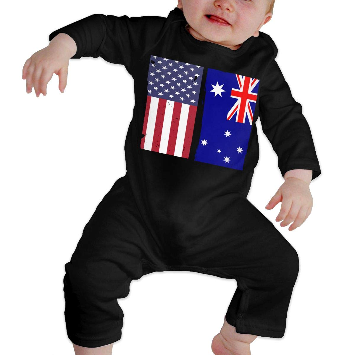 UGFGF-S3 Australian Flag USA Flag Retro Toddler Baby Long Sleeve Bodysuit Bodysuits