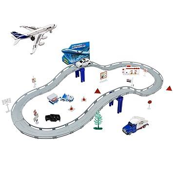 Circuito Coches Niños Pista Coches Electricos Maqueta Avion y Vehiculos Construccion 2 en 1 Aeropuerto Juguete para Niñas 3 4 5 Años(31 Piezas)
