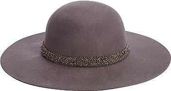 ebd826bcc42 Adora Women s Wool Felt Wide Brim Floppy Fedora Hat with Metallic Bead Trim  456