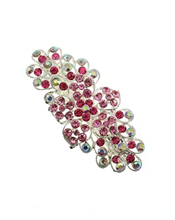 A Silver And Pink Diamanté Flower Design Metal Barrette Hair Clip