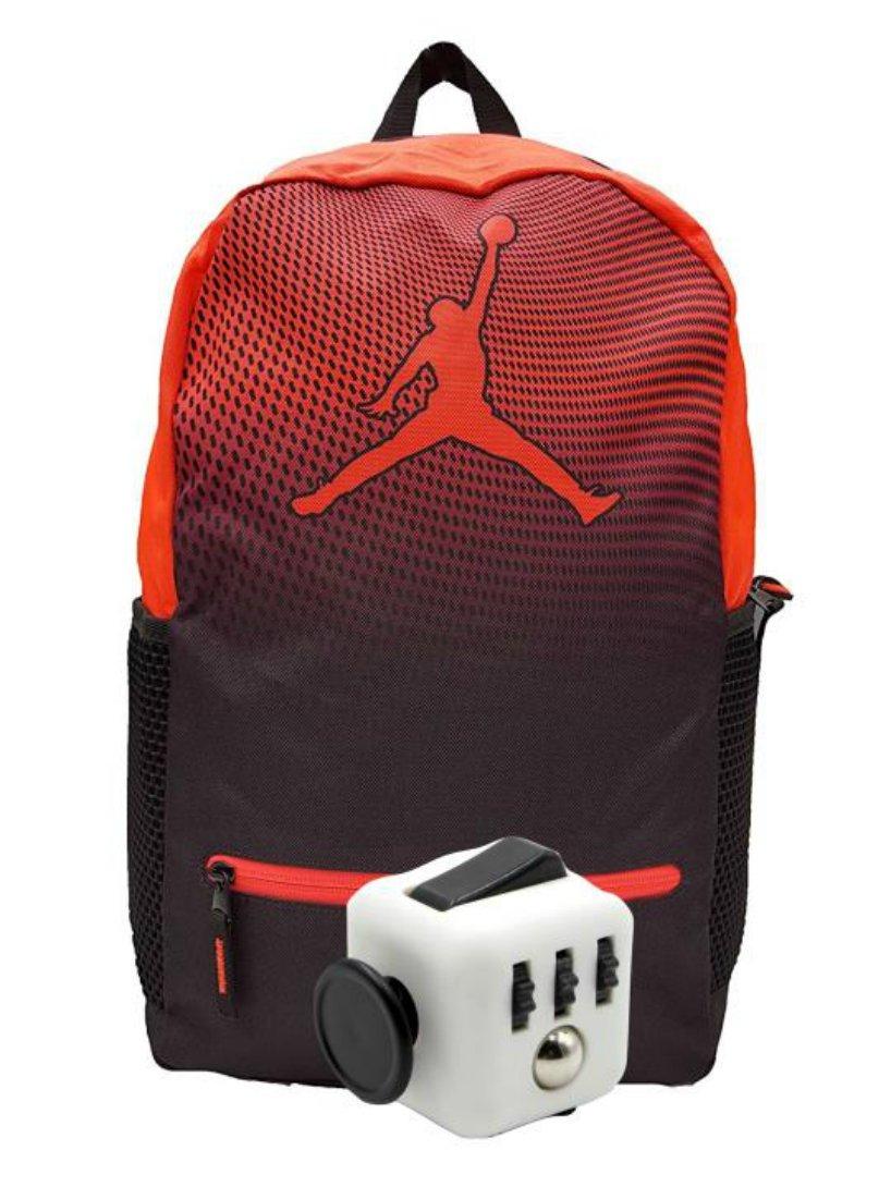 Nike Air Jordan Jumpman Youth 23 Backpack Book Bag + FREE FIDGET CUBE (Infrared)