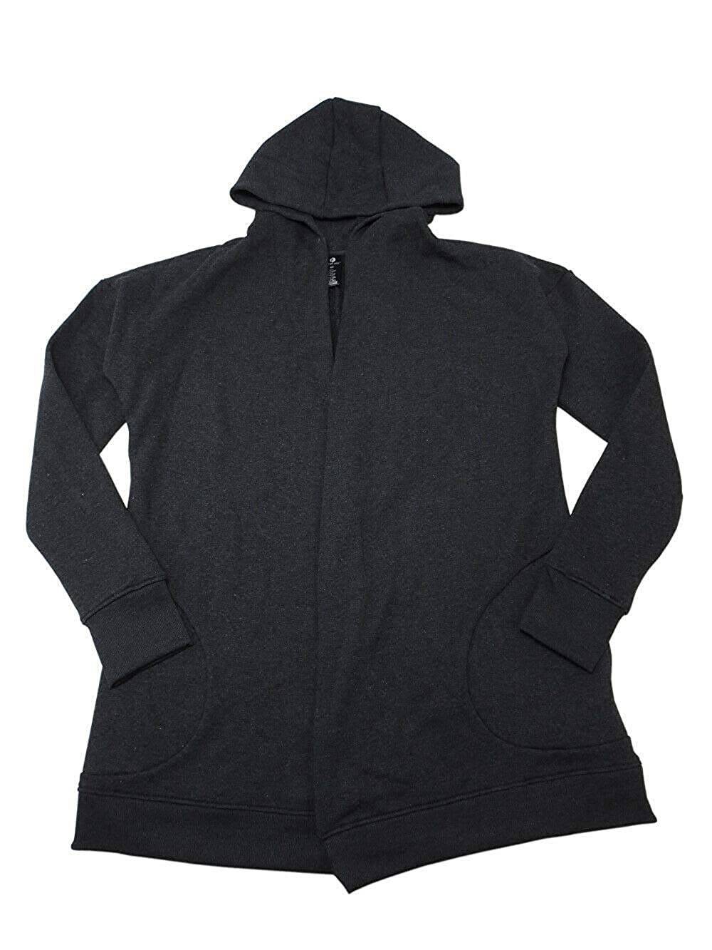 ACTIVE LIFE Women Hoodie Jacket Open Front Cardigan Size Large Heather Charcoal