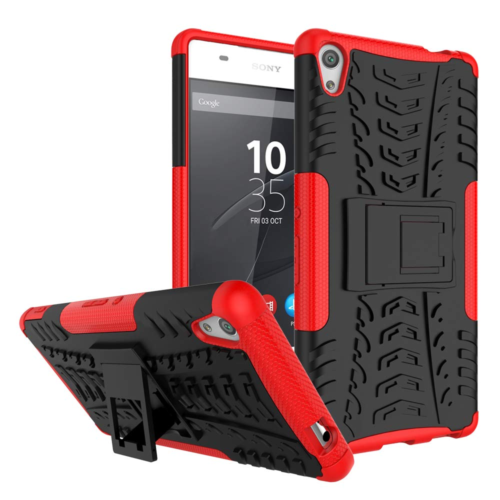 Sony Xperia XA Ultra Case, Xperia C6 Case, Lwaisy Heavy Duty Shockproof 2 in 1 Hybrid Rugged Hard PC Cover Soft TPU Bumper Protective Cover with Kickstand for Sony Xperia XA Ultra/Xperia C6, Red