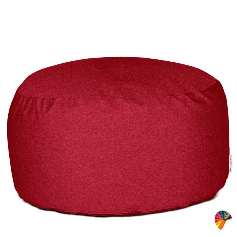 Arketicom SOFT CHILL Pouf repose-pieds ROND assis en tissu déhoussable - Doublure intérieure de sécurité pour nettoiage