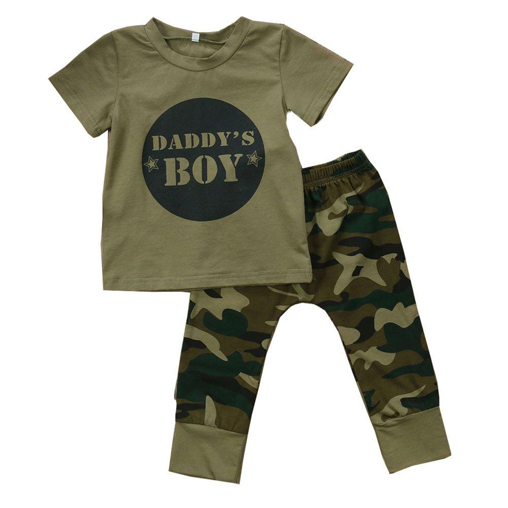 Scfcloth Newborn Baby Boy Girl Daddy's Boy/Girls Tops + Trousers Camo Outfits Set