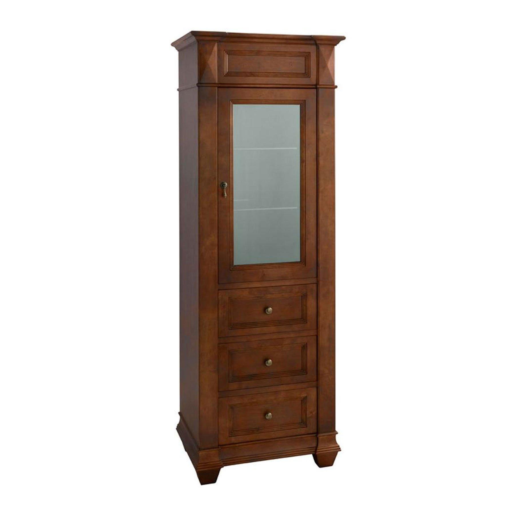 MAYKKE 30'' x 72'' Tall Juliet Curio Cabinet Display Case | Traditional Frosted Glass Window Bathroom Storage Organizer | Rich, Hardwood Construction | Cherry Americana, YSA2040101