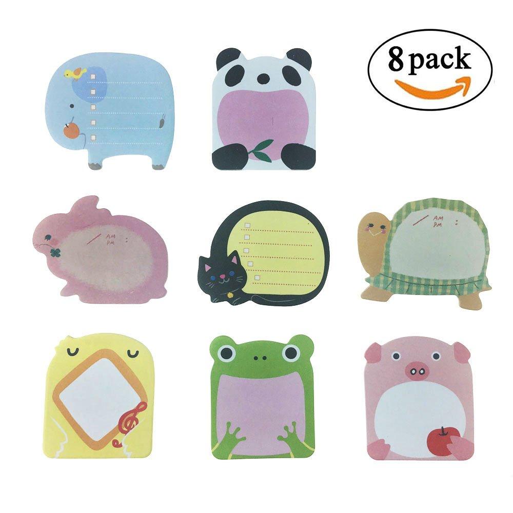 Super Sticky Notes- Zoo Animals Carino -8 Pads per confezione - 20 fogli per blocco - per confezione 8 Animali Inside-80 mm x 54 mm Creativee