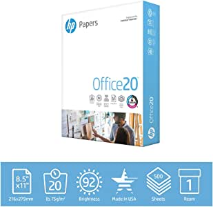 HP Printer Paper 8.5x11 Office 20 lb 1 Ream 500 Sheets 92 Bright Made in USA FSC Certified Copy Paper HP Compatible 172160R