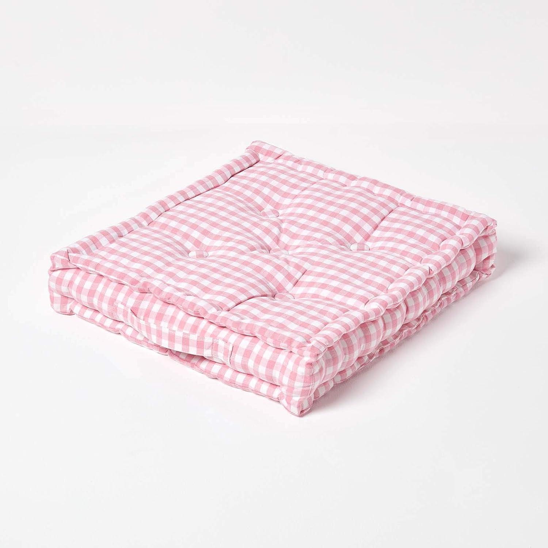 Homescapes, Cuscino Rosa Bianco a Quadretti 40 x 40 cm a