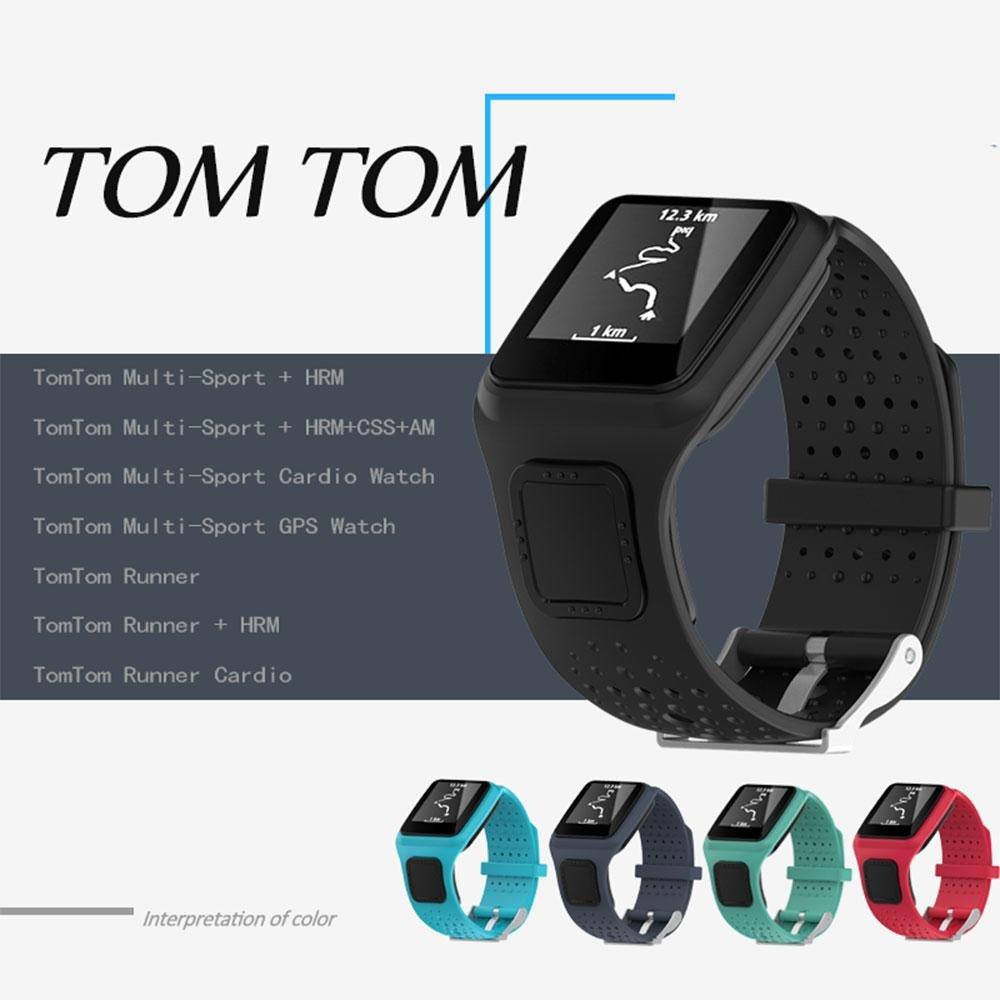 KOBWA TomTom Correa de reloj de silicona de repuesto para TomTom Runer/ TomTom Runner Cardio/TomTom Multi-Sport GPS HRM y más Smartwatch, color Lake Blue: ...