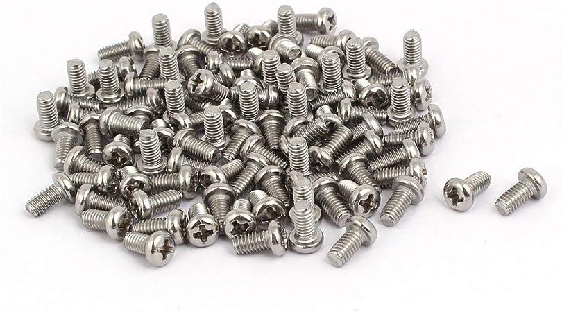 M4x8mm fil 304 vis /à t/ête cylindrique ronde /à t/ête cylindrique en acier inoxydable vis cruciforme 100pcs